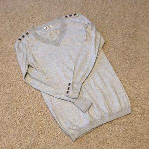 Light Heathered Gray V-Neck CAbi Sweater